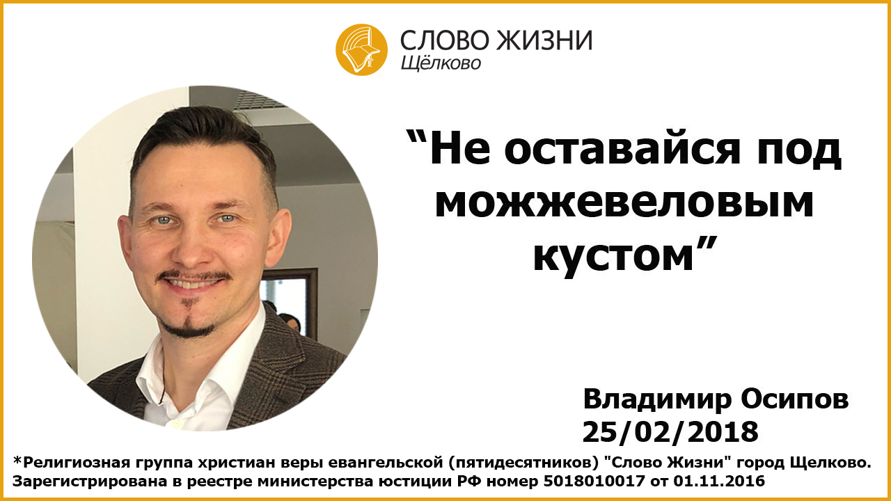 25.02.2018, 'Не оставайся под можжевеловым кустом', Владимир Осипов
